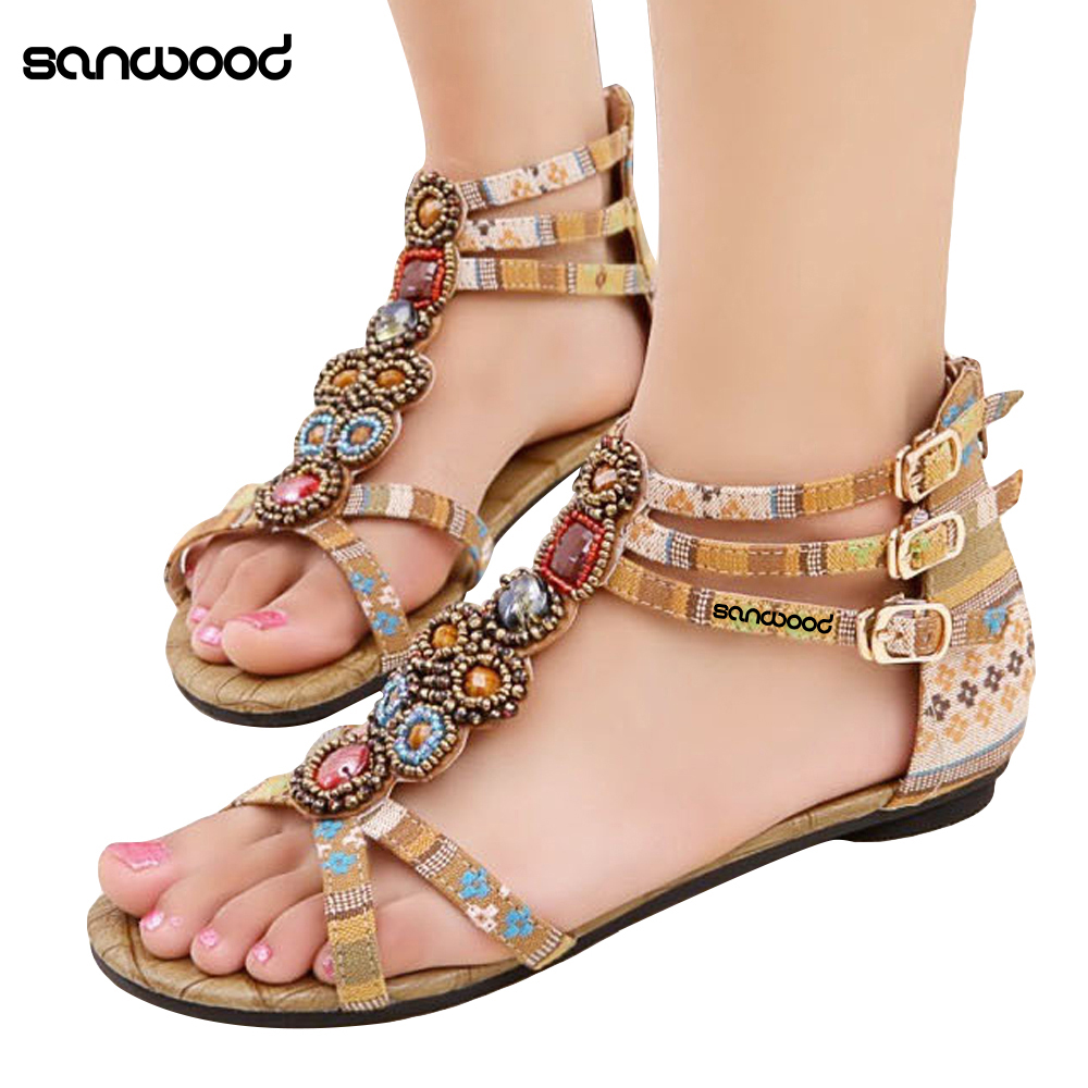 New Arrivals Hot New Women Summer Bohemian Style Zipper Flats Shoes Beading Casual Open Toe Sandals lamp4you настольная лампа lamp4you m 11 dn lmp y 19