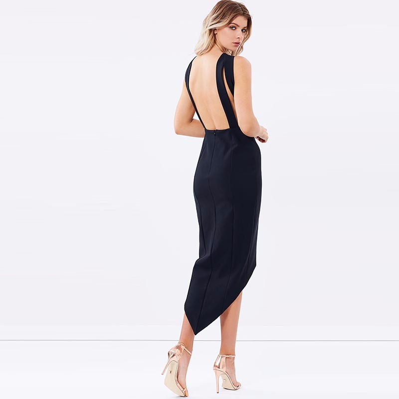 HDY Haoduoyi Solid Black Sexy Backless Sleeveless Dress High Low Bodycon Party Dress Elegant Zipper Braces Dress 5