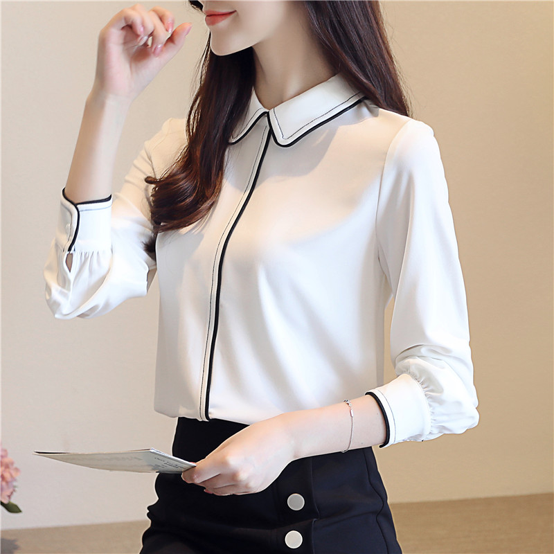 New Autumn Brief Women Shirts Solid Full Sleeve Blouse Shirt White 90312018