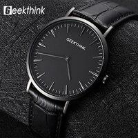 GEEKTHINK Japan Movemen Quartz Watch Men S Top Brand Luxury Business Genuine Leather Ultra Thin Quartz