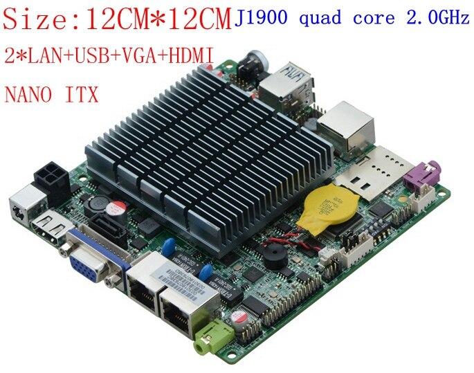 Mini ITX Motherboard industrial com processador onboard celeron j1900, quad core 2 ghz, até 2.42 ghz dual lan motherboard DC