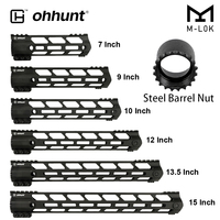 ohhunt Tactical AR15 Free Float M LOK Handguard 7 9 10 12 13.5 15 Picatinny Weaver Rail Mount with Steel Barrel Nut