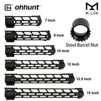 ohhunt Tactical AR15 Free Float M LOK Handguard 7 9 10 12 13.5 15 Picatinny Weaver Rail Mount with Steel Barrel Nut