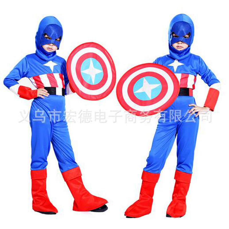 buy halloween costumes children kids clothes superhero captain america costume cosplay long sleeve boys girls clothing set from reliable