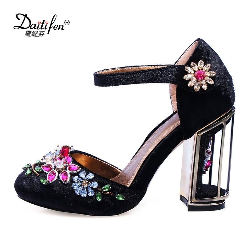 Daitifen Superstar Mary Jane shoes women Heels Pumps gorgeous Rhinestone Birdcage high Heels bride Wedding Dress shoes Purple все цены