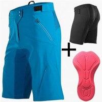 Saenshing קוביית Downhill Mtb אופני מכנסיים גברים מכנסיים קצרים + תחתוני רכיבה על אופניים 3D Gel Pad ספורט אופניים רכיבה על אופניים מכנסיים ברמודה Ciclismo