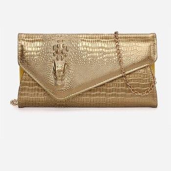 Arsmundi Clutch Bag New Crocodile Pattern Tide Luxury Women Envelope Shoulder Fashion Messenger Banquet Evening Handbag