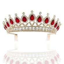 Tocados de corona grande tiara para novia maquillaje nupcial tocado princesa corona accesorios para el cabello de boda corona de Reina Vintage