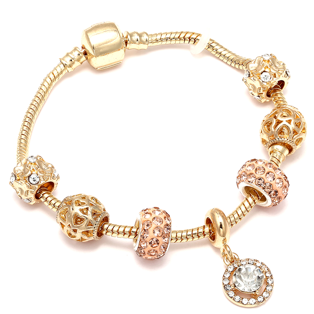 High Quaity Original European Gold Color Beads Bracelet Crystal Water Drop Charm Pandora Bracelet For Woman DIY Jewelry Gifts