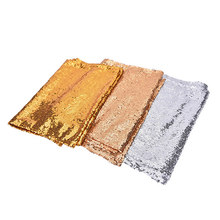 Gold Sequin Tablecloth Rectangle Style For Wedding/Party/Banquet Wedding Table Cloth Decoration 30x180cm(China)