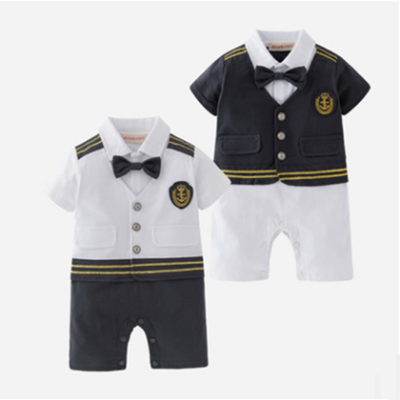 Summer Baby Boy Clothes Sailor Navy Romper Set Toddler Outfit Infant Jumpsuit Cotton Clothing Halloween Cosplay Costume