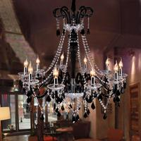Free Delivery Dia 100cm Large Cafe Bar Black Chandelier Led Candle Holder Transparent Crystal Light Lustres