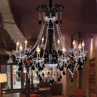 Free Delivery Dia 100cm Large Cafe Bar Black Chandelier Led Candle Holder Transparent Crystal Light Lustres
