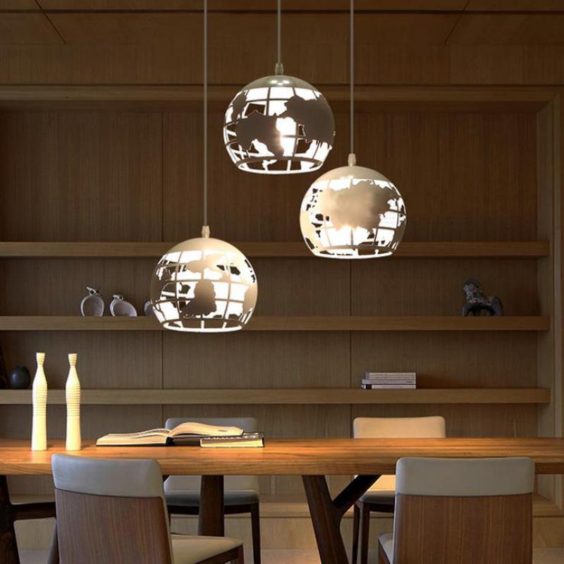 Bar salle à manger led sphère métallique pendentif lumières pour salon rétro Unique carte du monde pendentif lampes Bibliothèque vintage carte lampe Abajur
