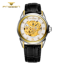 FNGEEN Automático Dos Homens relógio de pulso de couro Moda oco à prova d' água Relógio analógico top quality famosos mens relógio esqueleto Mecânico