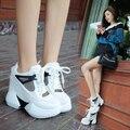 2017 Мода Повседневная Женская Обувь Высота Увеличение Женская Обувь Сетка Дышащей Обуви Платформа клин Плоские Женские Туфли белый