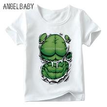 Забавная футболка с принтом «Халк», «Супермен», «Человек-паук» для мальчиков и девочек детские топы с супергероями, Детская футболка с короткими рукавами, HKP5198