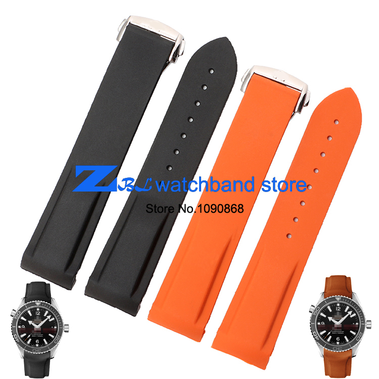 The silicone rubber watchband soft and comfortable waterproof width 20mm 22mm Orange black wristwatches band