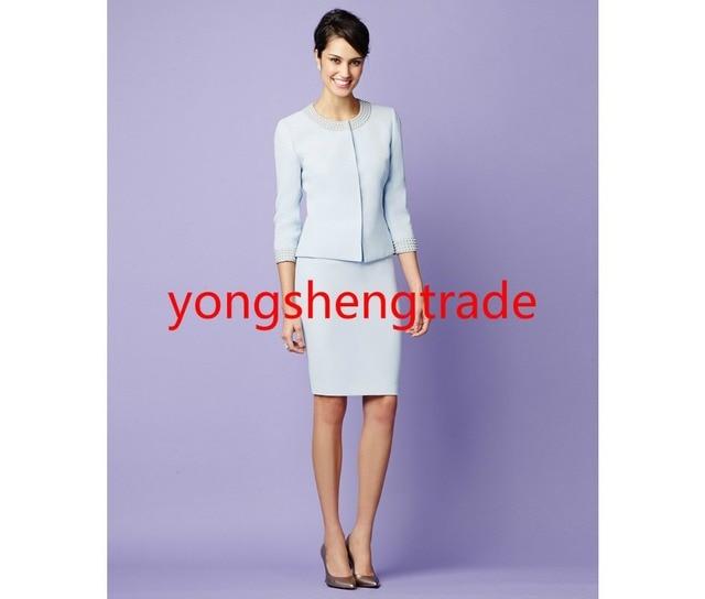 Designer Pearl Trim Snap Front Skirt Suit Light Blue Women Suit