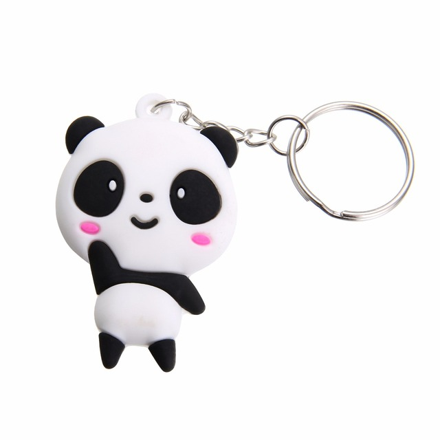 1pc Cute Cartoon Panda Keychain Keyring Bag Pendant Silicone Animals Panda Handb