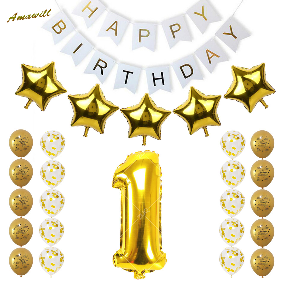 Amawill 1st Birthday Party Decoration Kit Gold Confetti Balloon Happy Banner Baby Shower 1 Years