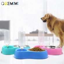 Dog Cat Food Bowl with Water Bottle Puppy Kitten Automatic Dispenser Feeder Pet Double Not Wet Mouth Bow