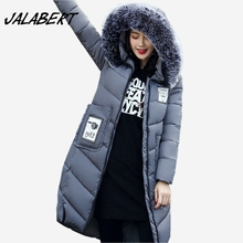 2017 autumn winter fashion cotton women long hooded large fur collar warm parkas jacket female slim zipper big pocket coat