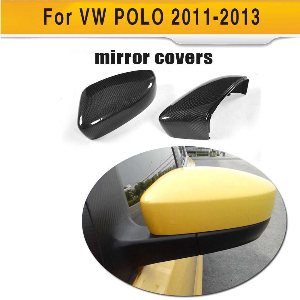 Carbon fiber Black full replacement Side Rearview Mirror Covers Caps for Volkswagen VW POLO Hatchback 2011 2012 2013 GTI f10 side wing rearview mirror cover caps for bmw sedan 11 13 carbon fiber