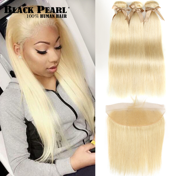 Black Pearl Honey Blonde Bundles With Frontal Closure Brazilian Straight Remy Human Hair Weave 613 - discount item  39% OFF Beauty Supply