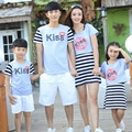 New Summer Family Matching Outfits Kiss striped mother daughter dresses father son t shirt pants Sets girls boys clothes