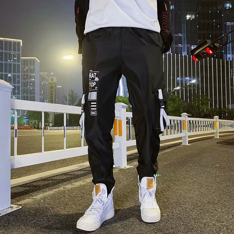 Mens Cool Pants HipHop Pocket Loose Men New Fashion Black Joggers Trousers Streetwear