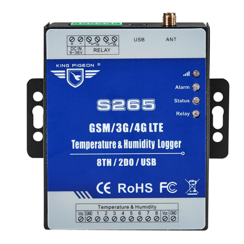 GPRS Data logger GSM 3G 4G LTE Cellular Telemetry Temperature Humidity Monitoring System with 8 TH