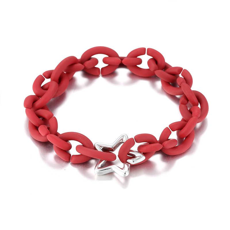 الأزياء 925 فضة ستار تريل سحر الصلب المطاط الأحمر سوار مُزين بالخرز الرجال مجوهرات لل مجوهرات النساء سوار أوربي