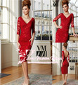 Vestidos 2015 Red Short Lace Cocktail Party Dress Short Prom Dress with Sleeves Open Back and Lace Appliques