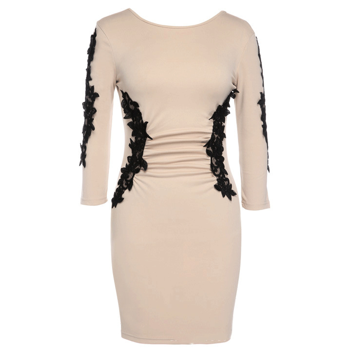 3 4 Quarter Sleeve Low Cut Back Dress 2015 New Women Plus Size White Pencil  Dress Casual Bodycon Nude Lace Appliques Party Dress-in Dresses from Women s  ... 42c8dae3512a