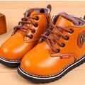 2015 Nuevos Niños de la Nieve del Invierno Botas de niño y niña caliente baby shoes botas planas de alta calidad de cuero de la pu del niño del bebé botas
