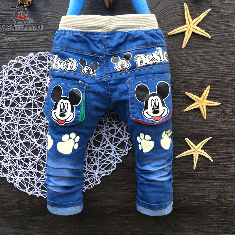 Spring Autumn Children'S Pants Boys Cute Cartoon Embroidered Jeans Trousers Outfits Kids Leisure Trousers Boys Girls Clothing