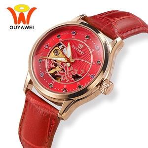 Женские Механические часы OUYAWEI, красные часы с кожаным ремешком и бриллиантом