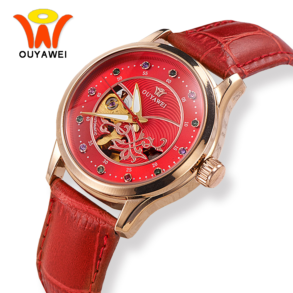 OUYAWEI Red Skeleton Dial Leather Automatic Mechanical Watch Women Luxury Rose Gold Case Wrist Watches For Fashion Ladies Girls winner brand luxury gold steel case watch women brown leather band rhinestone dial skeleton automatic mechanical wrist watches