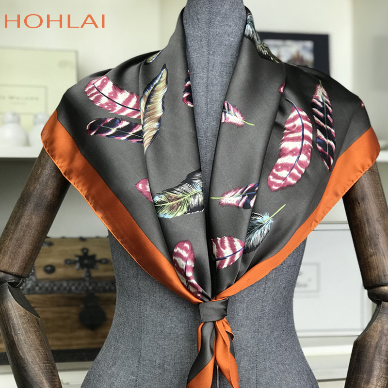 Fashion Luxury Brand Hijab Women   Scarf   100% Silk Feeling Shawl   Scarf   Foulard Square Head   Scarves     Wraps   2018 NEW 90x90cm