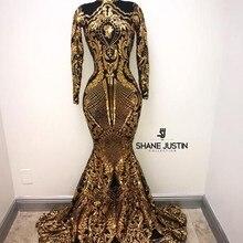 257fdd7d5469 GEYATING Gold Mermaid Prom Dresses 2019 Graduation Dress