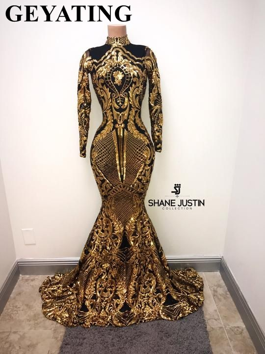 Gold And Black Long Sleeves Mermaid Black Girl   Prom     Dresses   2019 Elegant High Neck African Formal Evening Gowns Graduation   Dress