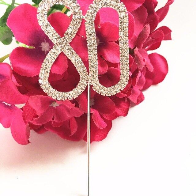 Gâteau gâteau danniversaire diamant Happy 80th | Cupcake gâteau danniversaire 5 cm, garniture supérieure avec strass nombre 80