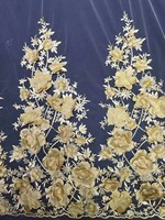 2018 High quality African beads Lace Fabric with stones lace For fashion lady lace Wedding dress handmade gold lace 5 yard/lot