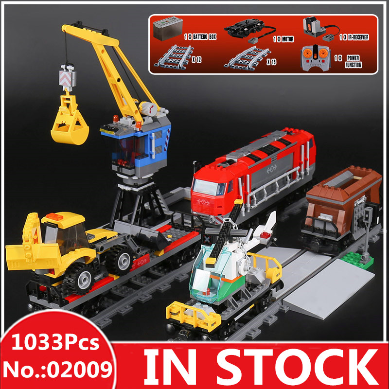 H&HXY In Stock 02009 1033Pcs City Series The Heavy-haul Train Set Building Blocks Bricks Educational Toys Model lepin Boy`s Gift