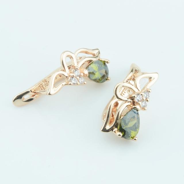 Fj Women Olive Green Blue Red Stone Earrings Gold 585 Plated Cubic Zircon Jewelry Wedding