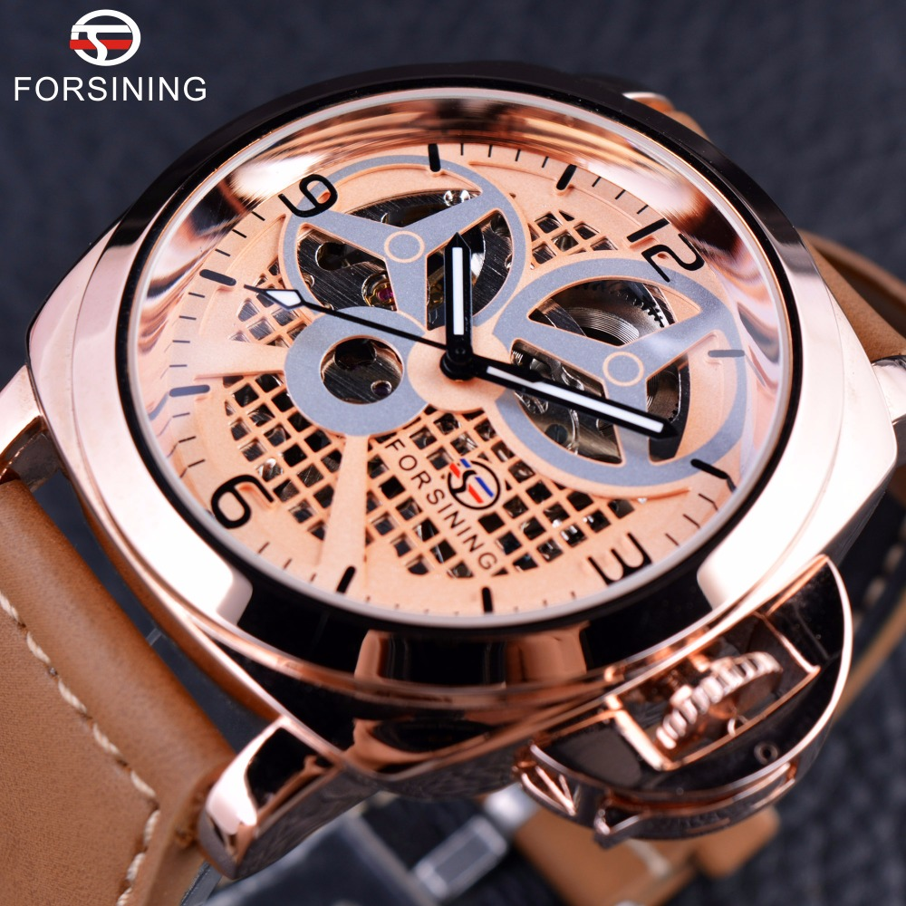 Forsining 2016 New Windmill Designer Fashion Rose Golden Display Brown Strap Clock Mens Watches Top Brand Luxury Automatic Watch forsining date month display rose golden case mens watches top brand luxury automatic watch clock men casual fashion clock watch