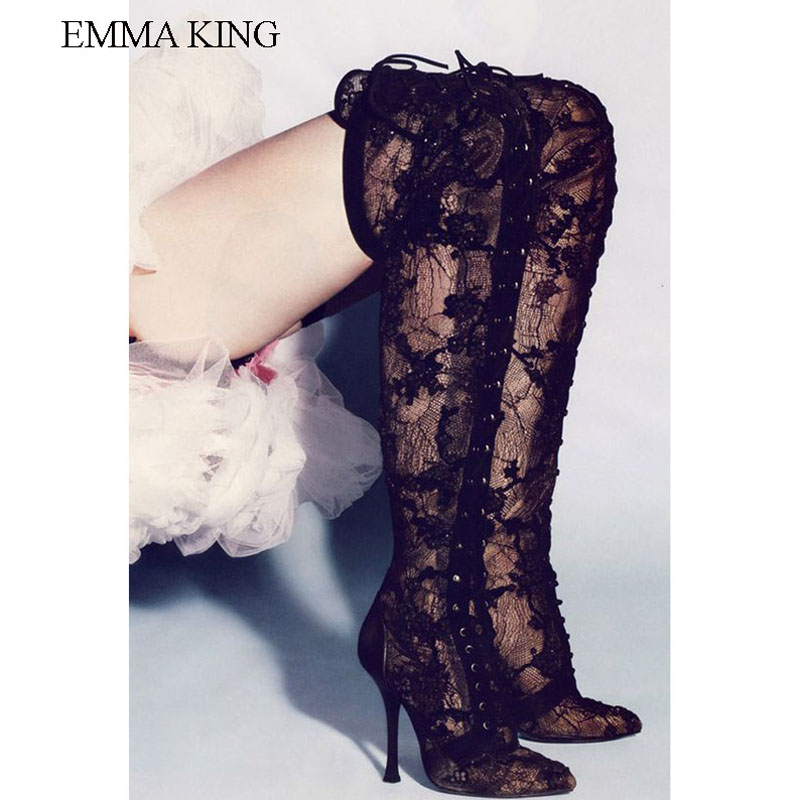2019 NEW Black Lace Cross Straps Sexy Over-The-Knee Boots Ladies shoes High Quality Long Tube Boots Shoes Woman Party Botas2019 NEW Black Lace Cross Straps Sexy Over-The-Knee Boots Ladies shoes High Quality Long Tube Boots Shoes Woman Party Botas