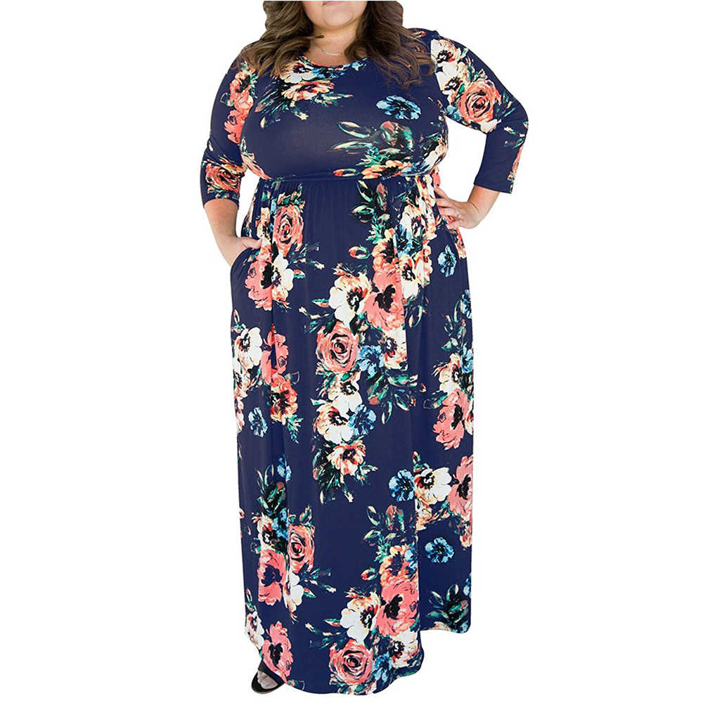 4xl 5xl Big Size Vintage Floral Printing Dresses Plus Size Woman Swing  Dress 2018 Spring Elegant 78b377bd7ec0