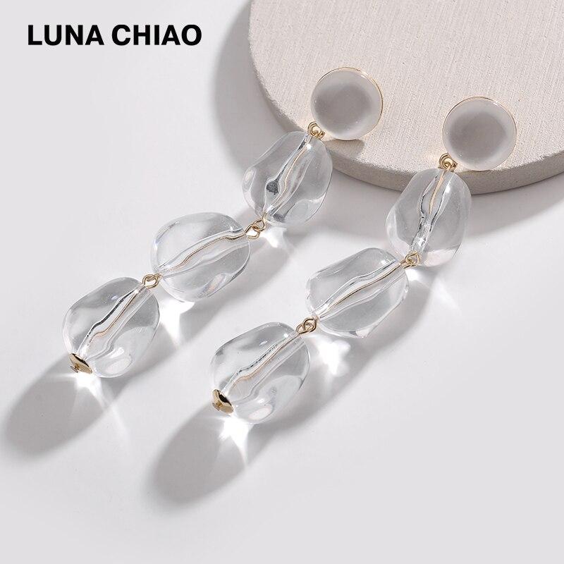 100% QualitäT Luna Chiao Mode Trendy Sommer Transparent Klar Acryl Lange Wasser Tropfen Anhänger Ohrringe Für Frauen
